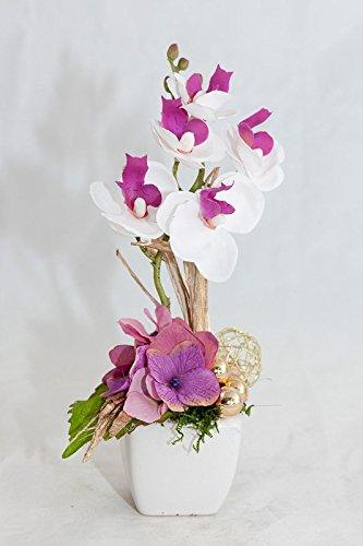 Weihnachtliches Tischgesteck in lila/pink,weiß,gold-Tischdeko mit künstl.Orchideen (Lila Gold Und Dekorationen)
