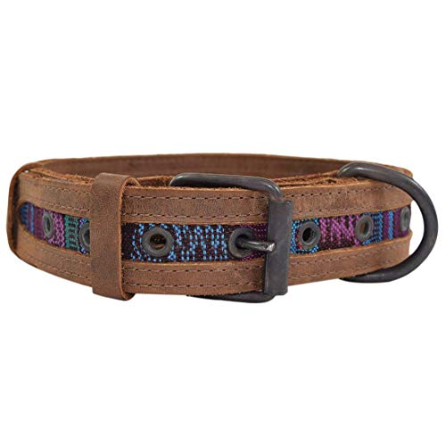 Yancosmos Hide & Drink Rustikales Maya-Hundehalsband, Tropical Blue