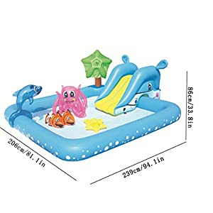 Thole Piscine per Bambini Gomma con Scivolo Gonfiabili Grandi Risparmio Casa 239x206x86cm