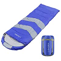 LANGRIA 3 Seasons Sleeping Bag with 2 Way Zipper & Compression Bag, Outdoor Lightweight Adults Sleeping Bags for Traveling Sleepover Camping Backpacking Hiking Festival 21