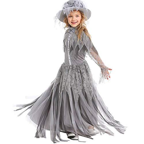 DUQA Halloween-Geist-Prinzessin Cosplay Bride Kids Halloween - Child Bride Kostüm Halloween