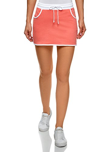 oodji Ultra Damen Jersey-Tennisrock, Orange, DE 36 / EU 38 / S (Damen Golf Rock)