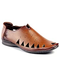 JK PORT Brown Synthetic Leather Sandal