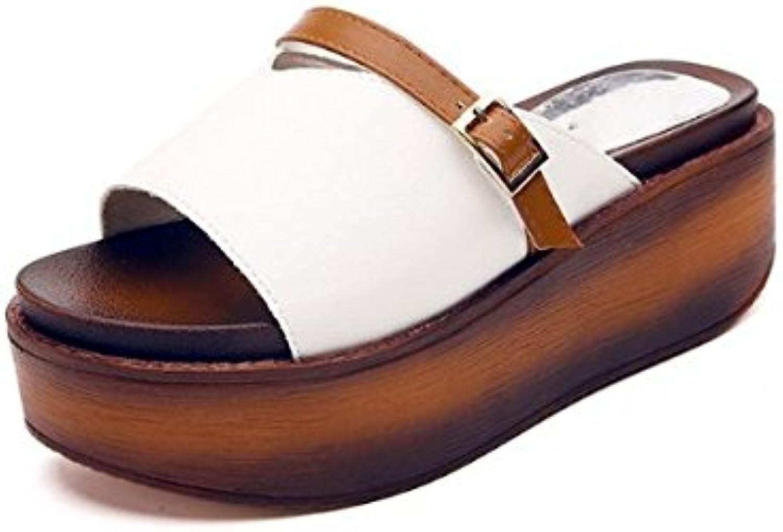 AJUNR Moda/elegante/Transpirable/Sandalias Bizcocho de zapatos gruesos y versátil arrastrar y soltar 6cm con pendiente... -