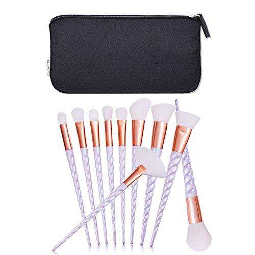 MYG 10pcs Fashion Unicorn Design Handle Shape Make Up Brushes For Foundation Eyebrow Eyeliner Blush Cosmetic Concealer Makeup Brushes Set With Cosmetic Bag