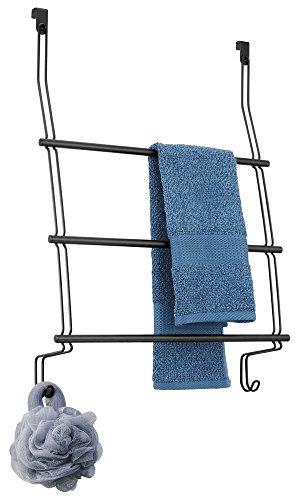mDesign porte-serviettes sans perçage – l'organiseur de salle de bain idéal avec 3 barres & 2 supports à serviettes – à suspendre à la porte de la maison ou de la douche – antirouille, noir ma