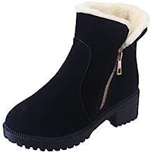 Dooxi Mujer Invierno Antideslizante Nieve Botas Moda Cremallera Talón Botines Casual Calentar Forrado Zapatos