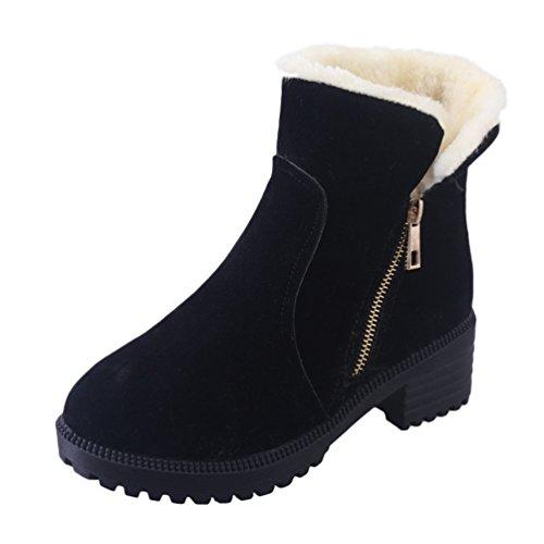 b69d372bb Dooxi Mujer Invierno Antideslizante Nieve Botas Moda Cremallera Talón  Botines Casual Calentar Forrado Zapatos Negro 38