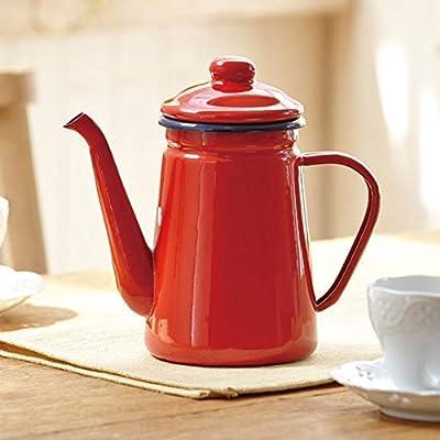 Café et thé Bouteille 1.1L à haute teneur en émail Café et thé Pot Verser sur le lait Pichet à eau Pichet Barista Théière Bouilloire for Cuisinière au gaz et cuisinière à induction rouge