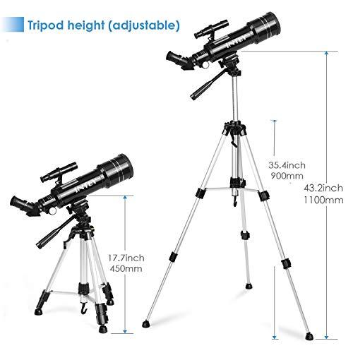 INTEY Teleskop Astronomisch, Kellner K25mm und K6mm Teleskop Refraktor Teleskop (mit Rucksack), Aluminium Stativ verstellbar (50~120cm), geeignet für Kinder und Erwachsene