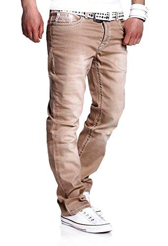 MT Styles Jeans Straight-Fit Hose RJ-133 [Beige, W32/L32]