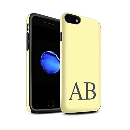 Personalisiert Pastell Monogramm Glanz Zähen Hülle für Apple iPhone 8 / Rosa Design / Initiale/Name/Text Stoßfest Schutzhülle/Case/Etui Gelbes