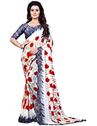 Anand Sarees Faux Georgette Saree With Blouse Piece (Mnp_1332_White_Free Size)