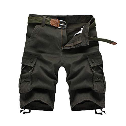 junkai Männer Casual Sommer Kampf Cargo Shorts Capri Hosen Armeegrün 38 (Baseball-hose Kampf)