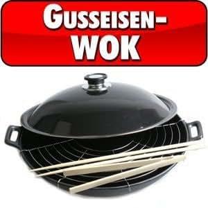 Grande padella wok con griglia, in ghisa