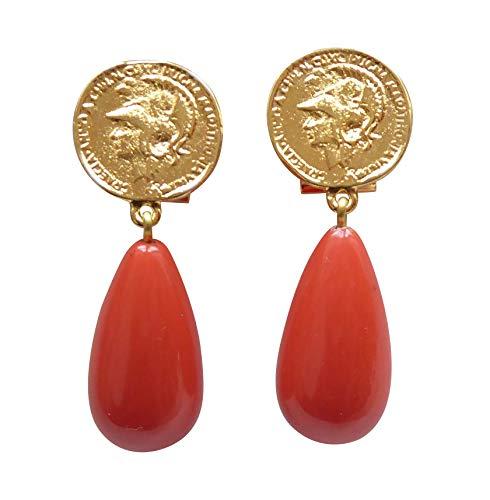 Vergoldete Clip-Ohrstecker Ohrringe sehr groß Münze Anhänger korall-rot orange tropfen-förmig Statement Fashionelegant Designer JUSTWIN