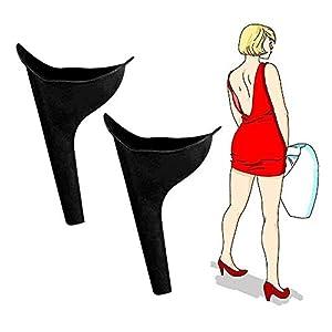 Flying swallow Frauenurinal Urinal für Frauen für sicheres Urinieren im Stehen oder Hocken,wiederverwendbar und tragbar, ideal für unterwegs wie Camping, Reisen, Wandern,Bergsteigen,2 Stück (Schwarz)