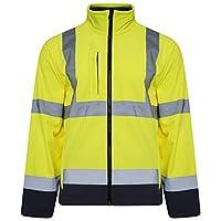 Shop Online Hi-Viz High Visibility Softshell Jacket Light Weight Fleece Lining Drawstring Hem Multi Zip Pockets Two-Tone Coat (Yellow/Navy, L)