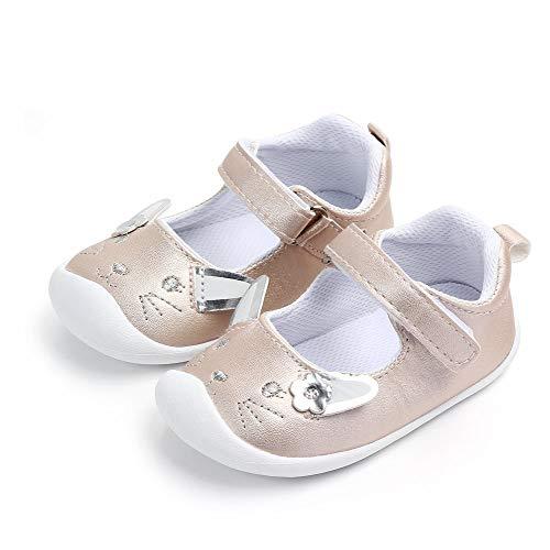 Ballett-mädchen Baby Schuhe (LACOFIA Baby Mädchen Ballerinas Kleinkind Klettverschluss Rutschfest Lauflernschuhe Hase Gold 12-18 Monate)