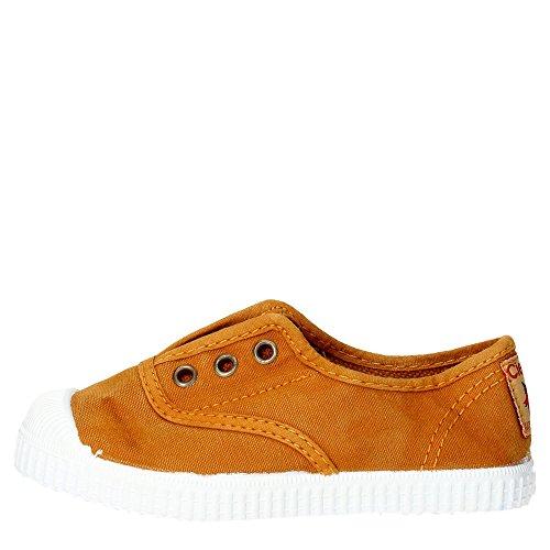 Cienta - Sapato Azul Em Tecido, Feito Na Espanha, Na Frente, Uma Inserção Elástica, Buracos Botão De Ouro, Couro Marrom Nova