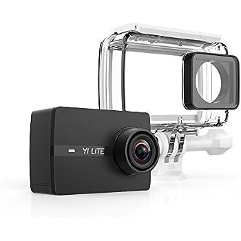 Yi Lite - Fotocamera di azione, 4K/20 fps, 1.080p/60 fps, con obiettivo ultra grandangolare, WiFi e Bluetooth, custodia impermeabile, colore: Nero