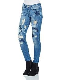 Red Bridge Damen Jeans Hose Patchwork Jeanshose Skinny Röhrenjeans Slim Fit R42003