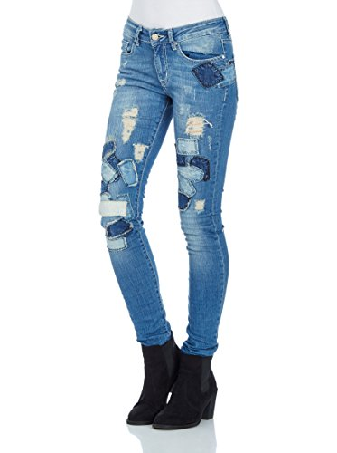 Redbridge by Cipo & Baxx Damen Jeans Hose Patchwork Skinny Röhrenjeans Slim Fit (W27 L34, Blau) (Blaue Jeans-patchwork)