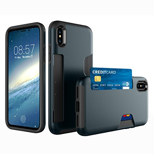 CaseforYou Hülle iphone X Schutz Gehäuse Hülse Anti-scratch Cellphone Case Shock Resistant Protector Shell with Card Slot Schutzhülle für iphone X (Grey) Navy Blue