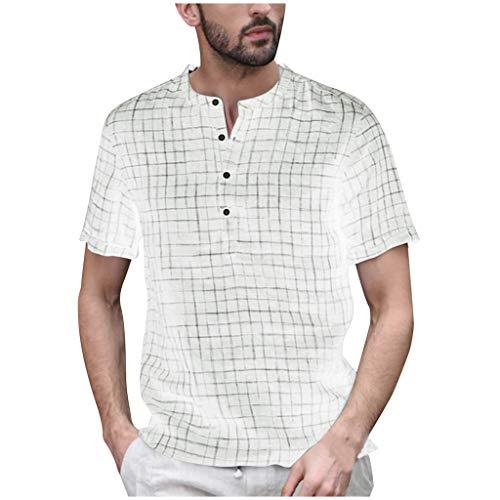 Eagle Mens Fitted T-shirt (TAMALLU Herren Hemden Formell Mode Lässig Kariertes Männer Leinen Tee Cool Kurzarm Bluse(Weiß,S))