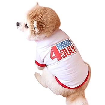 Chiens Chemises,T-Shirt Blanc pour Chien, Style FêTe De L'IndéPendance, Costume Animalier T-Shirt pour Chien Imprimé,Chiens Textiles et Accessoires (L, Blanc)