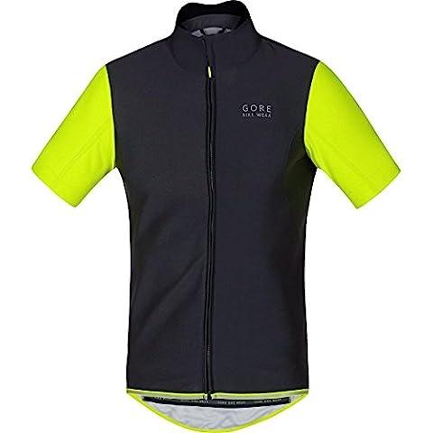 Gore Bike Wear SWSOPO990804 Maglia Ciclismo Termica Uomo, Maniche corte, GORE WINDSTOPPER Soft Shell, POWER WS SO, Taglia M, nero/ Giallo - Mens Sport Bike
