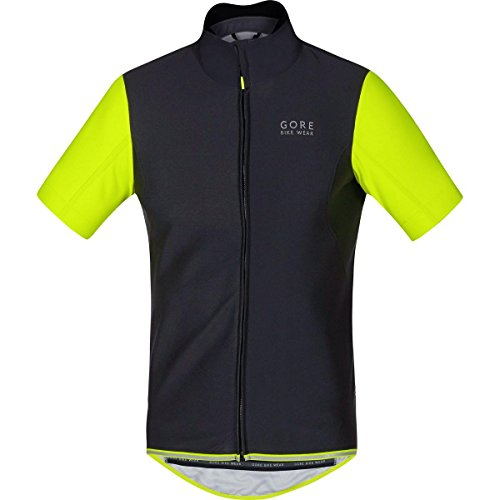GORE BIKE WEAR Herren Soft Shell Rennrad-Jersey, Kurzarm, GORE WINDSTOPPER, POWER WS SO Jersey, Größe: M, Schwarz/Neon Gelb, SWSOPO -
