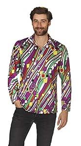 Andrea Moden 592-58/60Adultos Disfraz Retro Camisa para hombre, multicolor, 58/60