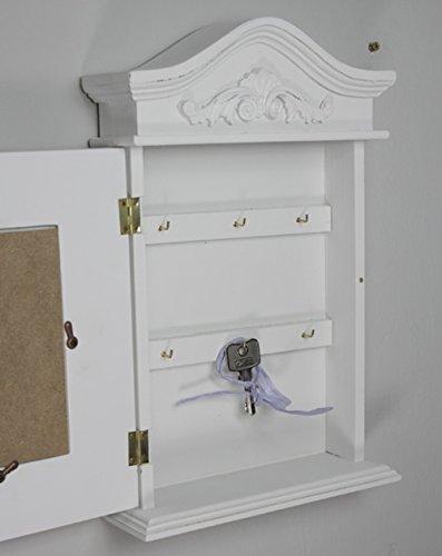 elbmöbel Schlüsselkasten mit Foto und Bilderrahmen in weiß antik aus Holz - 2