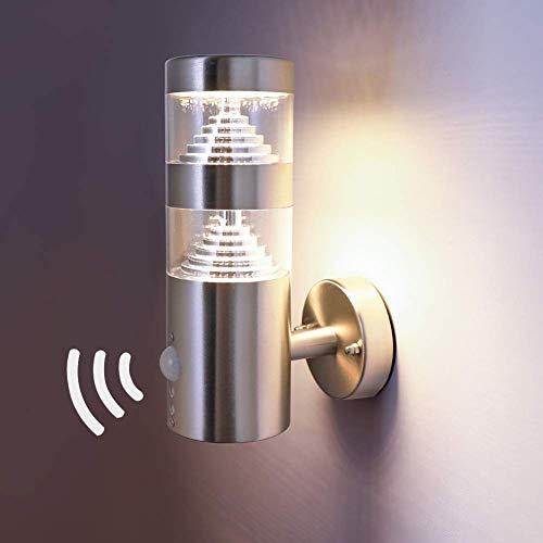 NBHANYUAN Lighting® Aussenleuchte/Außenlampe mit Bewegungsmelder und Dämmerungsschalter LED Aussenwandleuchten für Balkon Silber Edelstahl 3000K Warmweiß Licht 220-240V 1000LM 9.5W (mit PIR Sensor)