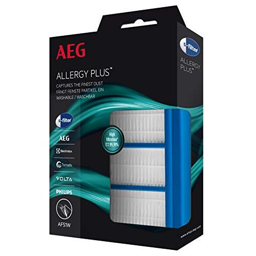 AEG AFS1W Allergy Plus Filter (Ideal für Allergiker, Filterwirkung mehr als 99{5178c25b78ef7d1f62b8bcc6ad8cc0106832c62600c43fc3675f1fad48cd8732}, saubere Luft, waschbar, leicht einzubauen, passend für über 80 Staubsauger-Baureihen, universell, passgenau) blau/weiß