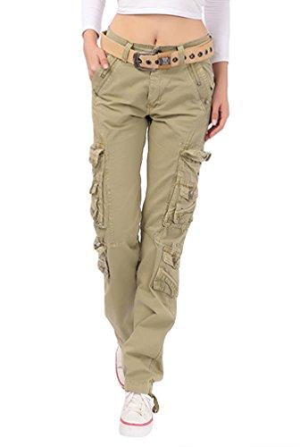 YouPuer Damen Cargohosen Kampf Lässig Fracht Multi-Tasche Baumwolle Militär Hose Einfarbig