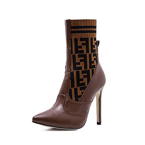 EGS-Shoes Wolle Stricken Farbe passend Stiletto High Heel Damenstiefel Frauen mit hohen Absätzen,Grille Schuhe (Farbe : Braun, Size : 37) (Go Go Halloween Stiefel)