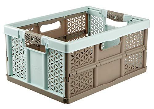 Aufbewahrungskiste, 32 l, extrastark, zusammenklappbar, Kunststoff, 30 kg Tragkraft pro Box, weiche Griffe (Storage 32 Liter Plastic Box)