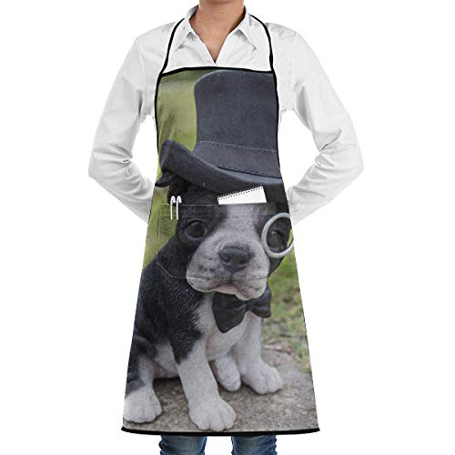Boston Terrier with Top Hat Sta Schürze Lace Unisex Mens Womens Chef Adjustable Polyester Long Full Black Cooking Kitchen Schürzes Bib with Pockets for Restaurant Baking Crafting Gardening BBQ Grill