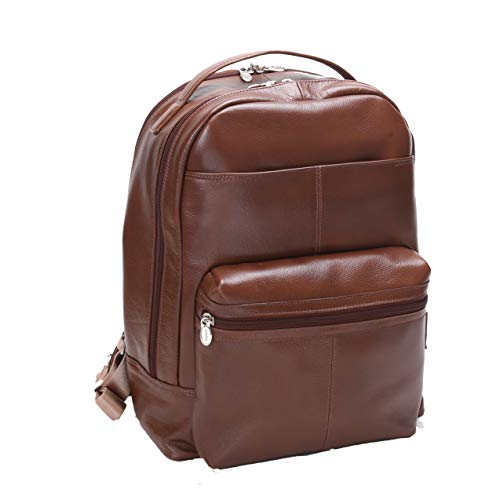 Dual Compartment Laptop Backpack, Leather, Mid-Size, Brown - Parker   Mcklein - 88554