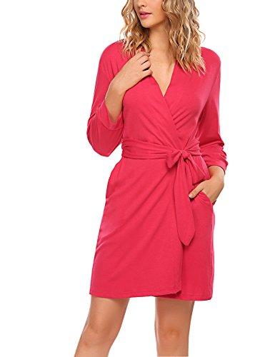 exklusive bademaentel HOTOUCH Damen Morgenmantel Bademantel Nachtwäsche Kimono Saunamantel Mit Tiefer V-Ausschnitt Schlafanzug Aus Baumwolle