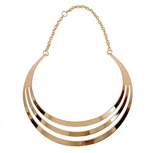 - 41aL3lbPGoL - Women's Exaggerated 3 Layers Semi-Circle Chain Statement Choker Necklace