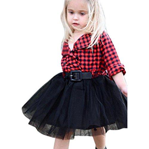 Woll-socken Kleinkind (OverDose Kleinkind Kinder Baby Mädchen Kleidung Langarm Kariertes +Netzgarn Patchwork Party tütü Prinzessin Kleider (5T,A-Rot))
