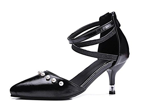 Donne Closed-Toe Pumps Pearl scarpe con tacchi a punta cinturino alla caviglia Corte Shose nero Black
