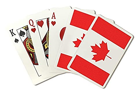 Canada Country Flag - Letterpress (Playing Card Deck - 52 Card Poker Size with Jokers) by Lantern