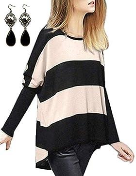 Sitengle Mujer Jersey de Lana Manga del Batwing Rayas Camisa Blusa Suéter Primavera Caliente Casual Cardigan Outwear...