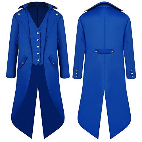 Für Kostüm Erwachsene Blau Tuxedo - DHShop Mittelalterliche Retro-Frackjacke für Herren Gothic Victorian Frock Schwarzer Mantel Mittellanger Punk-Smoking Uniform Halloween-Kostüm,Blau,S