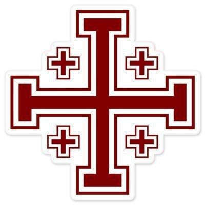 INDIGOS UG Aufkleber Autoaufkleber JDM Die Hart - Jerusalem Cross Bumper Sticker crusaders muslim 101mmx101mm - Cross 1 T-shirts