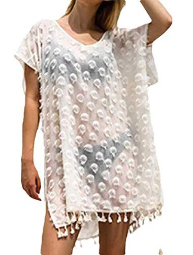 Go First Frauen stilvolle Chiffon Quaste Beachwear Bikini Badeanzug vertuschen Strandkleid (Color : Weiß, Size : One Size)